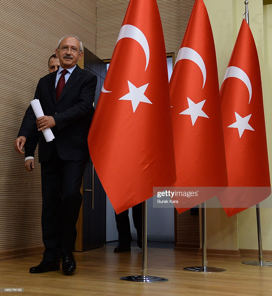 Turkey's main opposition Republican People's Party learde <a gi-track='captionPersonalityLinkClicked' href=/galleries/search?phrase=Kemal+Kilicdaroglu&family=editorial&specificpeople=7129513 ng-click='$event.stopPropagation()'>Kemal Kilicdaroglu</a> arrives to speak to the media at the CHP headquarters on November 1, 2015 in Ankara, Turkey. Polls have opened in Turkey's second general election this year, with the ruling Justice and Development Party (AKP) hoping to win a majority, as the country searches for stability amongst serious security concerns.