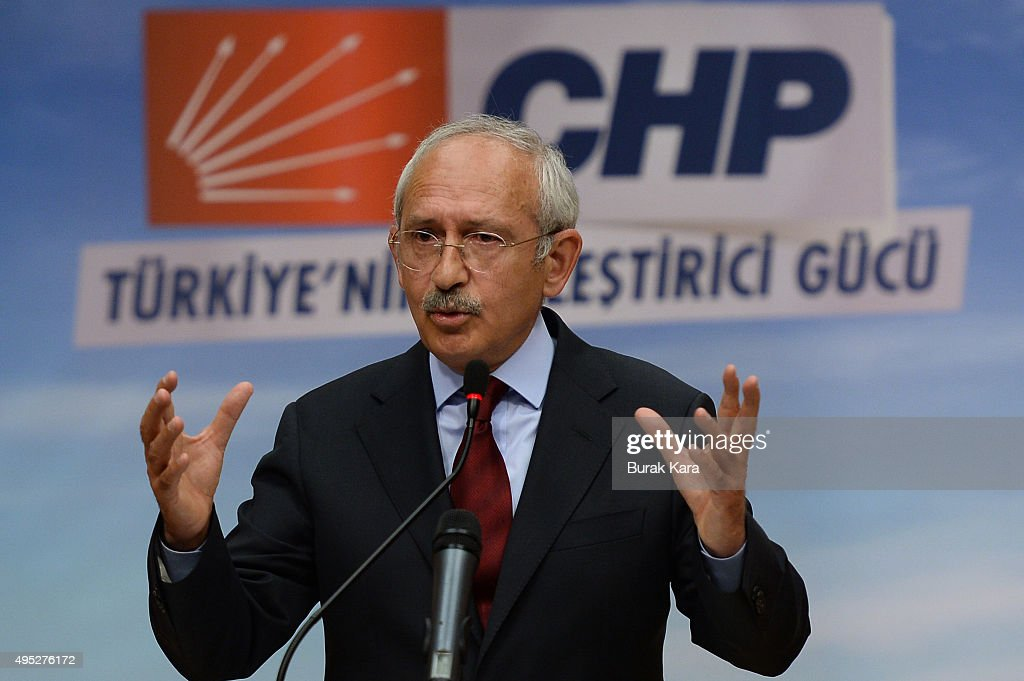 Turkey's main opposition Republican People's Party learder <a gi-track='captionPersonalityLinkClicked' href=/galleries/search?phrase=Kemal+Kilicdaroglu&family=editorial&specificpeople=7129513 ng-click='$event.stopPropagation()'>Kemal Kilicdaroglu</a> speaks to the media at the CHP headquarters on November 1, 2015 in Ankara, Turkey. Polls have opened in Turkey's second general election this year, with the ruling Justice and Development Party (AKP) hoping to win a majority, as the country searches for stability amongst serious security concerns.