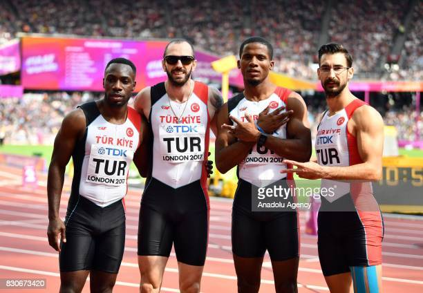 Turkeys Men's 4x100 Metres Relay team athletes Emre Zafer Barnes Ramil Guliyev Jak Ali Harvey and Yigitcan Hekimoglu pose after their competition...