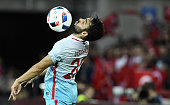TOPSHOT Turkey's midfielder Volkan Sen controls the ball during the Euro 2016 group D football match between Czech Republic and Turkey at...