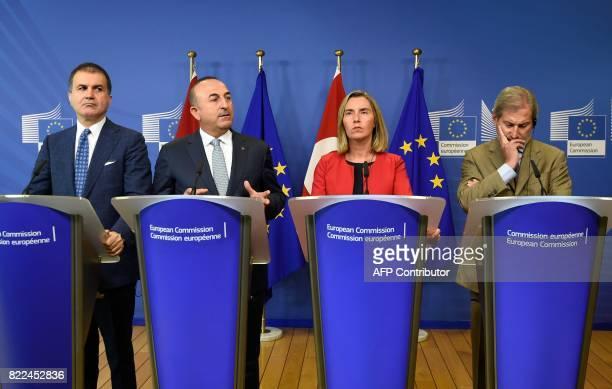 Turkey's Minister for EU Affairs Omer Celik Turkey's Foreign Affairs Minister Mevlut Cavusoglu the High Representative of the European Union for...