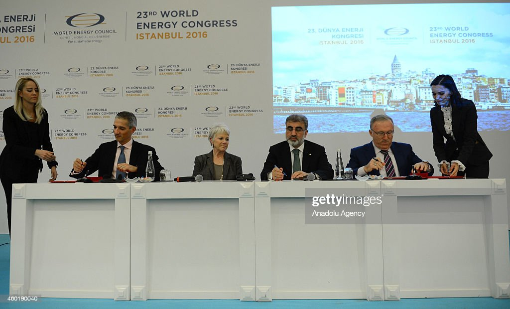 Turkey's Minister of Energy and Natural Resources Taner Yildiz and Chair of the World Energy Council MarieJose Nadeau attend the 23rd World Energy...