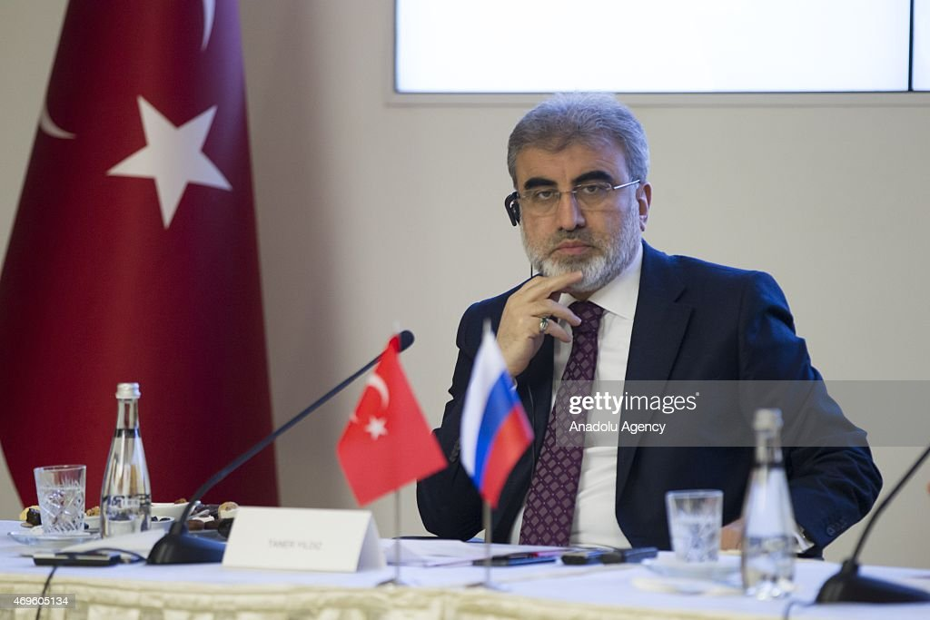 Turkey's Minister of Energy and Natural Resources <a gi-track='captionPersonalityLinkClicked' href=/galleries/search?phrase=Taner+Yildiz&family=editorial&specificpeople=5871509 ng-click='$event.stopPropagation()'>Taner Yildiz</a> (C) and head of Russia's state nuclear energy corporation Rosatom Sergey Kiriyenko (not seen) speak during a signing ceremony for educating Turkish students in nuclear engineering, in Ankara, Turkey on April 13, 2015. Rosatom, had signed an agreement with Turkey in 2011 to build and operate a four-reactor nuclear power plant in the Mersin province on Turkeys Mediterranean coast. Turkey plans to begin the infrastructure construction of the Akkuyu nuclear plant this year. This is a four-reactor facility in the Mersin province on Turkey's Mediterranean coast. Power from the nuclear plant will replace about 10 percent of hydrocarbon generated power in Turkey's power mix when it is fully operational.