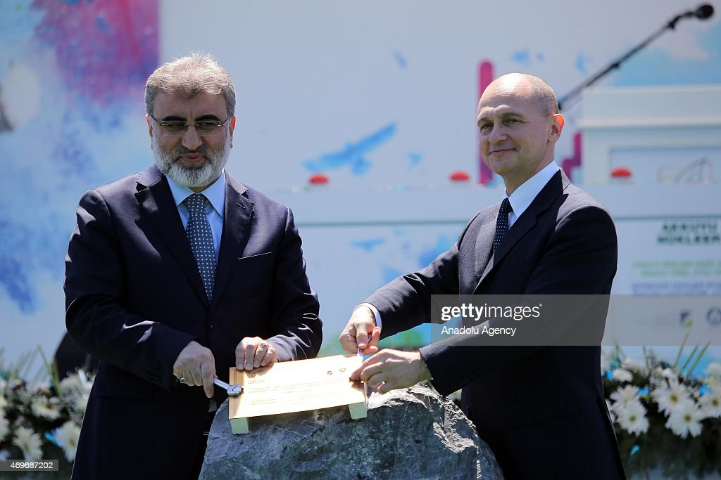 Turkey's Minister of Energy and Natural Resources <a gi-track='captionPersonalityLinkClicked' href=/galleries/search?phrase=Taner+Yildiz&family=editorial&specificpeople=5871509 ng-click='$event.stopPropagation()'>Taner Yildiz</a> (L) and Rosatom CEO Sergey Kiriyenko (R) attend the groundbreaking ceremony of Akkuyu Nuclear Power Plant in Mersin, Turkey on April 14, 2015.