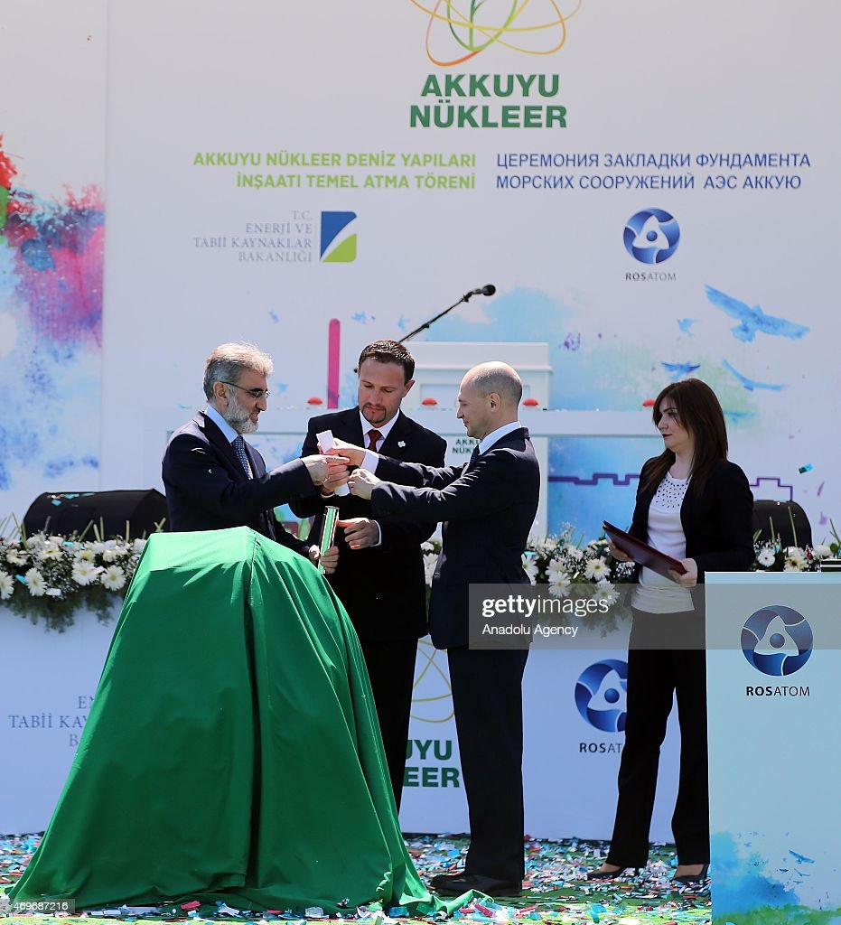 Turkey's Minister of Energy and Natural Resources <a gi-track='captionPersonalityLinkClicked' href=/galleries/search?phrase=Taner+Yildiz&family=editorial&specificpeople=5871509 ng-click='$event.stopPropagation()'>Taner Yildiz</a> (L) and Rosatom CEO Sergey Kiriyenko (2nd R) attend the groundbreaking ceremony of Akkuyu Nuclear Power Plant in Mersin, Turkey on April 14, 2015.