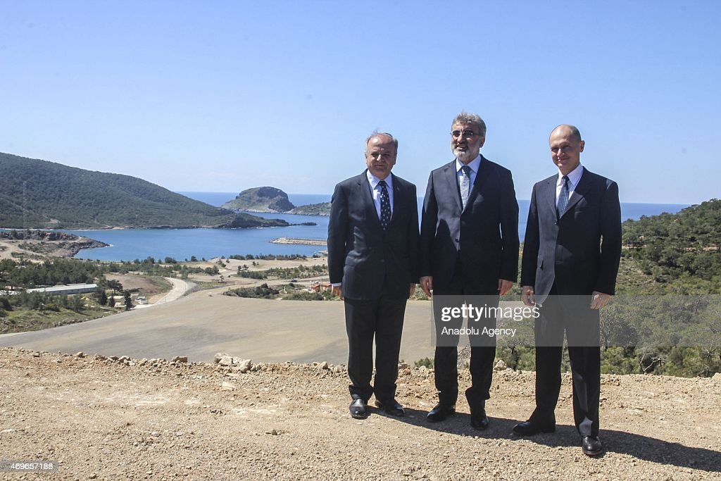 Turkey's Minister of Energy and Natural Resources <a gi-track='captionPersonalityLinkClicked' href=/galleries/search?phrase=Taner+Yildiz&family=editorial&specificpeople=5871509 ng-click='$event.stopPropagation()'>Taner Yildiz</a> (C), Rosatom CEO Sergey Kiriyenko (R) and Mersin Governor Ozdemir Cakacak (L) attend the groundbreaking ceremony of Akkuyu Nuclear Power Plant in Mersin, Turkey on April 14, 2015.