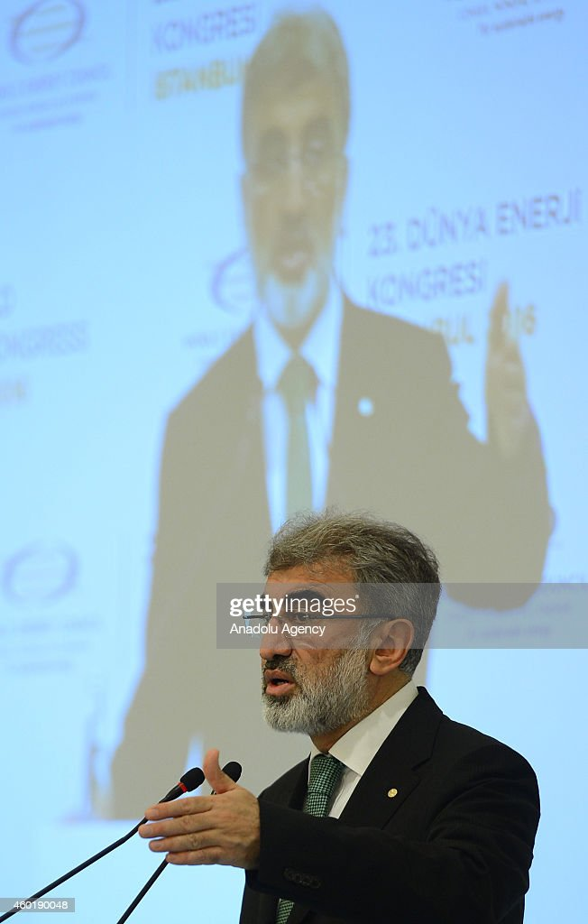 Turkey's Minister of Energy and Natural Resources Taner Yildiz speaks on December 9 2014 in Ankara Turkey during the 23rd World Energy Congress'...