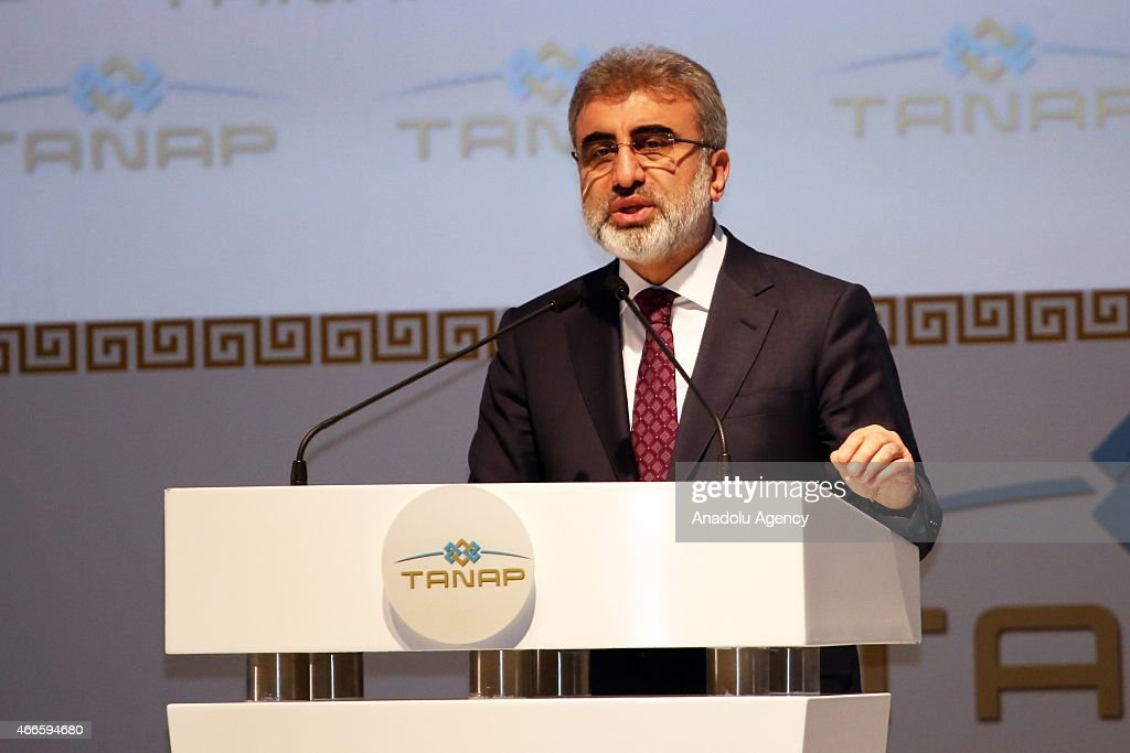 Turkey's Minister of Energy <a gi-track='captionPersonalityLinkClicked' href=/galleries/search?phrase=Taner+Yildiz&family=editorial&specificpeople=5871509 ng-click='$event.stopPropagation()'>Taner Yildiz</a> gives a speech during the groundbreaking ceremony of the Trans Anatolian Natural Gas Pipeline Project (TANAP), will be carry Azerbaijan's natural gas to Europe through Turkey, in Turkey's Northeastern city of Kars on March 17, 2015. Also, Turkey's President Recep Tayyip Erdogan, Azerbaijan's President Ilham Aliyev and Georgia's President Giorgi Margvelashvili attended to the ceremony.