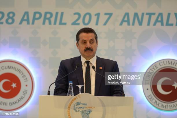 Turkey's Minister of Food Agriculture and Livestock Minister Faruk Celik delivers a speech during the TurkeyAfrica First Agriculture Ministers...