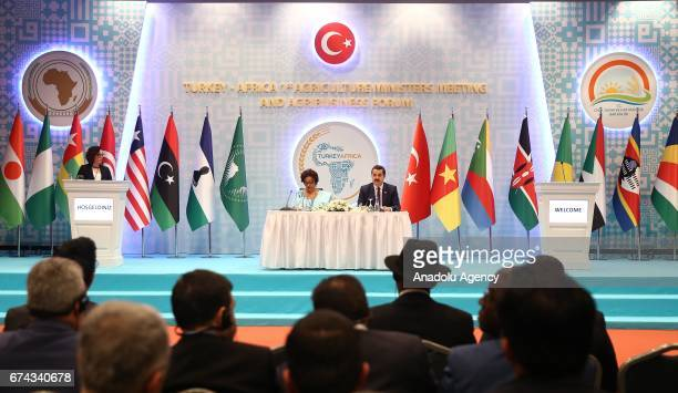 Turkey's Minister of Food Agriculture and Livestock Minister Faruk Celik holds a press conference with African Union Commissioner for Rural Economy...