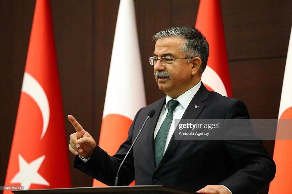 Turkey's National Education Minister Ismet Yilmaz delivers a speech during press conference about signing a cooperation agreement regarding the foundation of Turkish-Japanese Science and Technology University in Istanbul, in Ankara, Turkey on June 30, 2016.