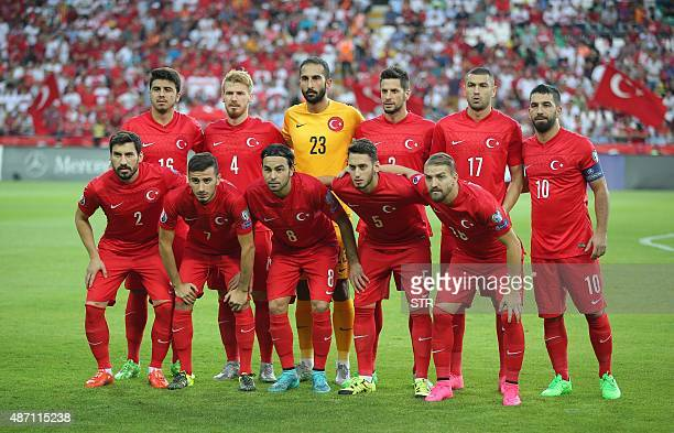 Turkey's national football team players pose prior to the Euro 2016 qualifying match between Turkey and The Netherlands at Konya's Arena on September...