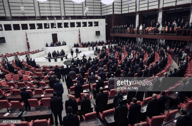 Turkey's new President Tayyip Erdogan attends a swearing in ceremony at the parliament on August 28 in Ankara Erdogan was sworn in as Turkey's 12th...