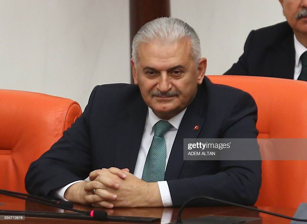 Turkey's new Prime Minister Binali Yildirim attends the general session at Grand National Assembly of Turkey (TBMM) in Ankara, Turkey on May 27, 2016. / AFP / ADEM