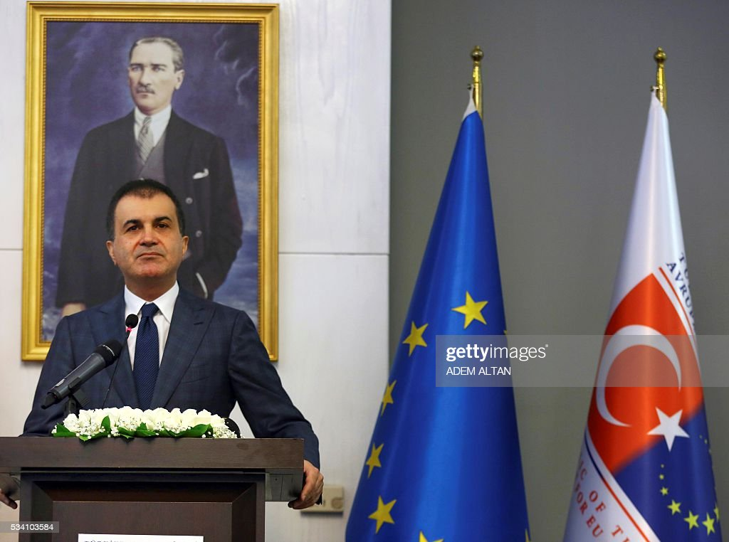 Turkey's newly appointed EU Affairs Minister and Chief Negotiator Omer Celik delivers a speech during the handover ceremony with his predecessor in Ankara, on May 25, 2016. / AFP / ADEM