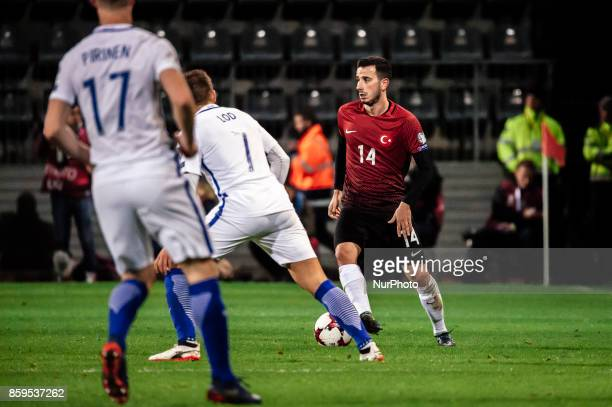 Turkey's Oguzhan Özyakup controls the ball during the FIFA World Cup 2018 qualification football match between Finland and Turkey in Turku Finland on...