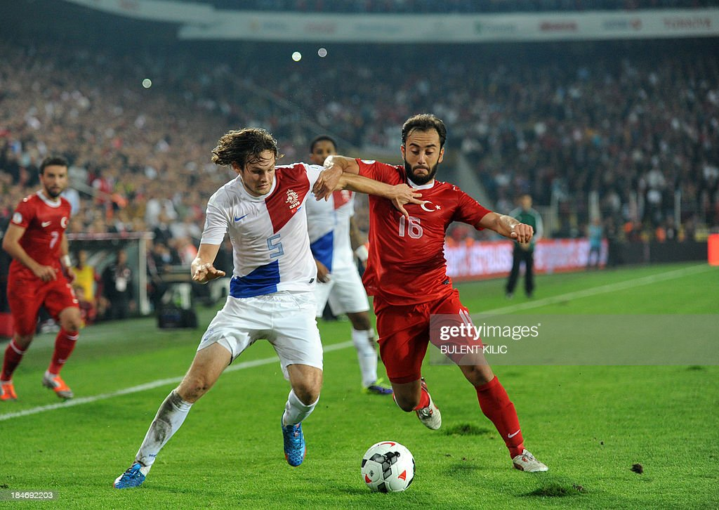 Turkey's Olcan Aydin (R) vies with Netherlands' s Daley Blind (L) on October 15, 2013 during a FIFA 2014 World Cup qualifying football match Turkey vs Netherlands at the Sukru Saracoglu Stadium in Istanbul.