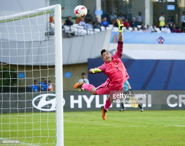Turkey's player Berke Ozer jump for the ball during the FIFA U17 World Cup match between Turkey and Paraguay in Mumbai India on October 12 2017