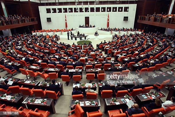 Turkey's President Abdullah Gul addresses the Turkish Parliament during a debate as the parliament reconvenes after a summer recess in Ankara October...