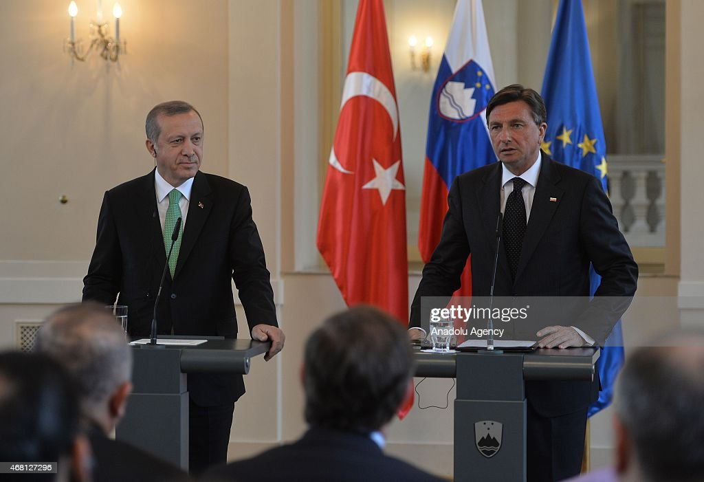 Turkey's President <a gi-track='captionPersonalityLinkClicked' href=/galleries/search?phrase=Recep+Tayyip+Erdogan&family=editorial&specificpeople=213890 ng-click='$event.stopPropagation()'>Recep Tayyip Erdogan</a> (L) and <a gi-track='captionPersonalityLinkClicked' href=/galleries/search?phrase=Borut+Pahor&family=editorial&specificpeople=2476171 ng-click='$event.stopPropagation()'>Borut Pahor</a>, President of the Republic of Slovenia, hold a joint press conference after their meeting at the presidential palace in Ljubljana on March 30, 2015.