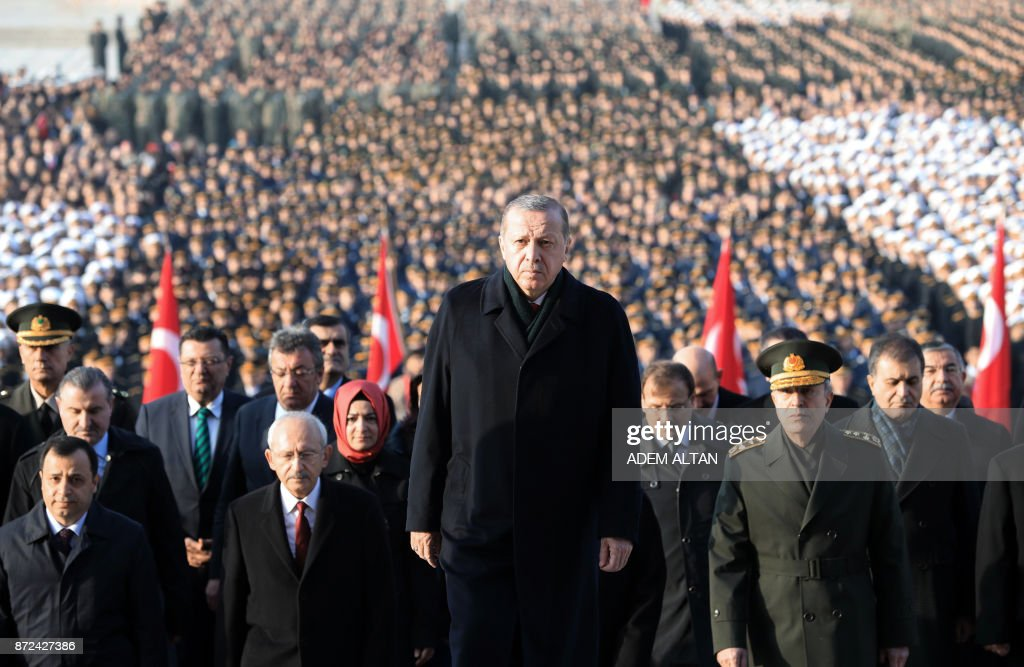 Turkey's President Recep Tayyip Erdogan (C) arrives to attend a ceremony marking the 79th death anniversary of Mustafa Kemal Ataturk, founder of modern Turkey, at the mausoleum for Ataturk, in Ankara, on November 10, 2017. /