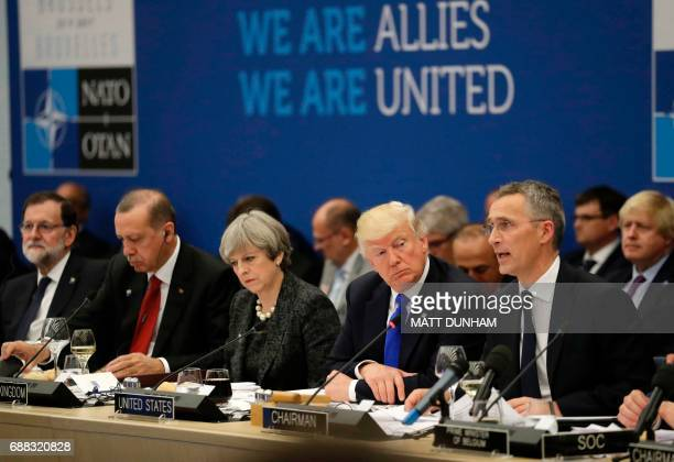 Turkey's President Recep Tayyip Erdogan Britain's Prime Minister Theresa May US President Donald Trump look on as NATO Secretary General Jens...