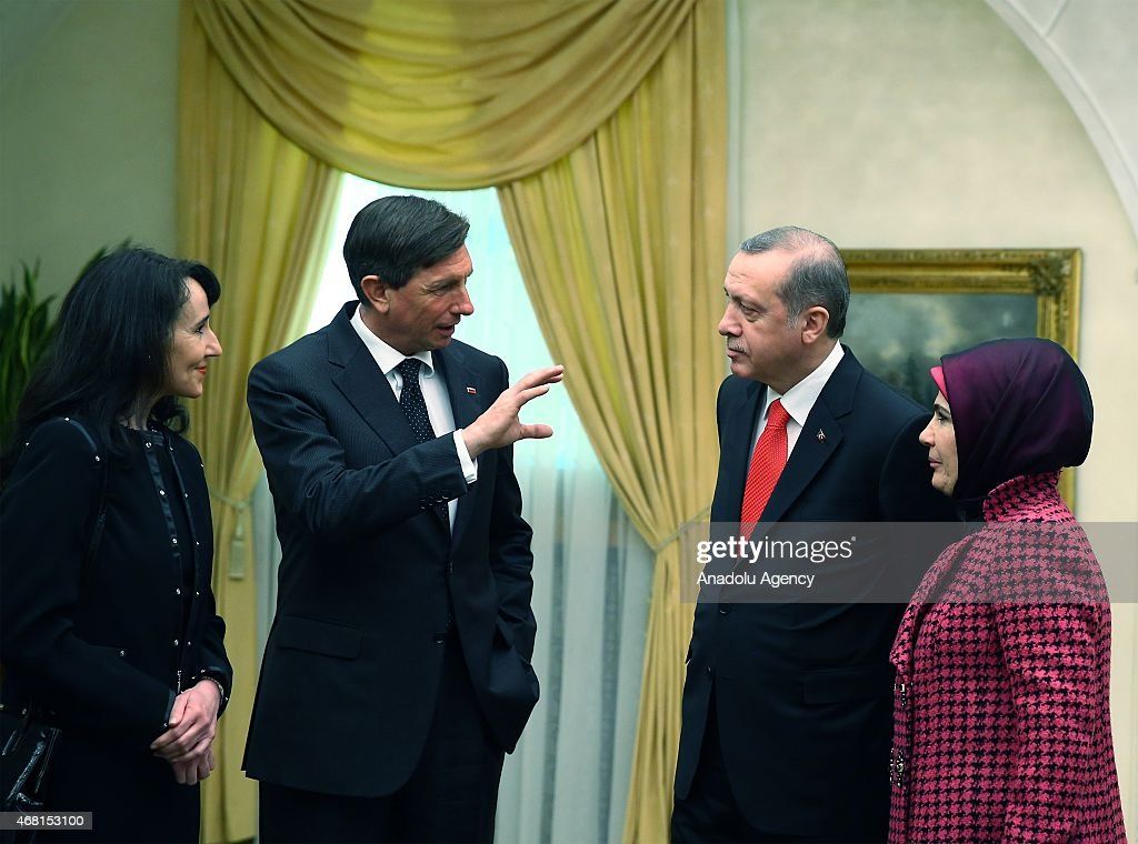Turkey's President <a gi-track='captionPersonalityLinkClicked' href=/galleries/search?phrase=Recep+Tayyip+Erdogan&family=editorial&specificpeople=213890 ng-click='$event.stopPropagation()'>Recep Tayyip Erdogan</a> (R 2), his wife <a gi-track='captionPersonalityLinkClicked' href=/galleries/search?phrase=Emine+Erdogan&family=editorial&specificpeople=613222 ng-click='$event.stopPropagation()'>Emine Erdogan</a> (R), Slovenian President <a gi-track='captionPersonalityLinkClicked' href=/galleries/search?phrase=Borut+Pahor&family=editorial&specificpeople=2476171 ng-click='$event.stopPropagation()'>Borut Pahor</a> (L 2) and his partner Tanja Pecar (L) are seen after a dinner in Ljubljana, Slovenia on March 30, 2015.