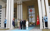 Turkey's President Recep Tayyip Erdogan his wife Emine New Zealand's GovernorGeneral Jerry Mateparae and his wife Janine pose at the Presidential...