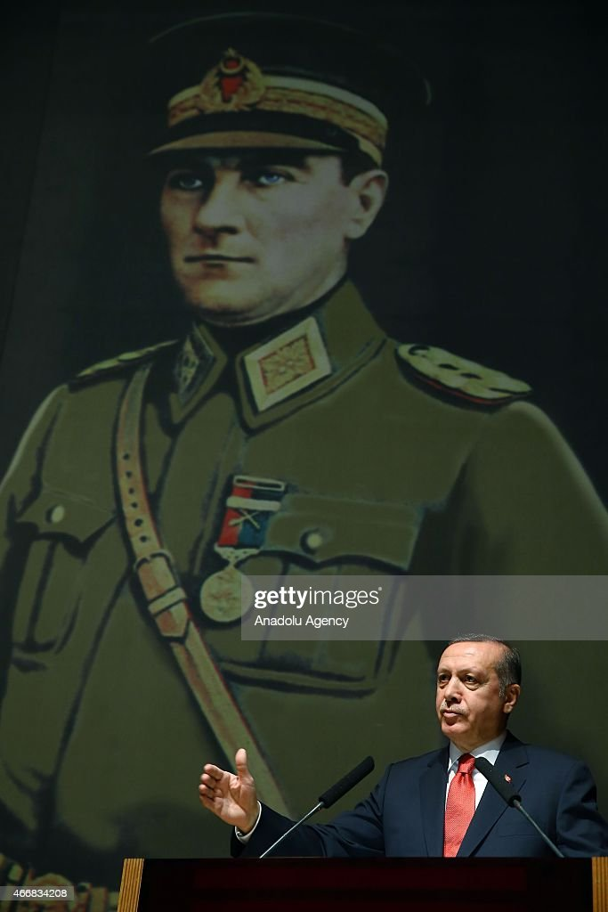 Turkey's President <a gi-track='captionPersonalityLinkClicked' href=/galleries/search?phrase=Recep+Tayyip+Erdogan&family=editorial&specificpeople=213890 ng-click='$event.stopPropagation()'>Recep Tayyip Erdogan</a> makes a speech during his visit at Turkish War Colleges Command in Istanbul, Turkey on March 19, 2015.