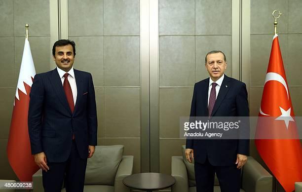Turkey's President Recep Tayyip Erdogan meets Emir of Qatar Sheikh Tamim bin Hamad bin Khalifa Al Thani in Istanbul Turkey on July 13 2015
