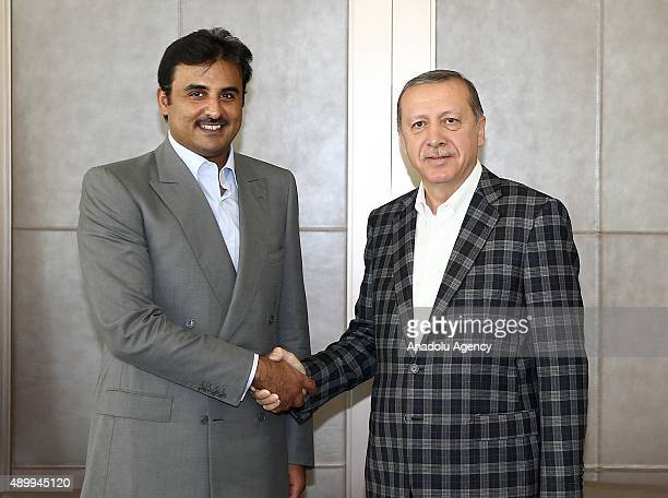 Turkey's President Recep Tayyip Erdogan meets Emir of the State of Qatar Sheikh Tamim bin Hamad bin Khalifa Al Thani in Istanbul Turkey on September...