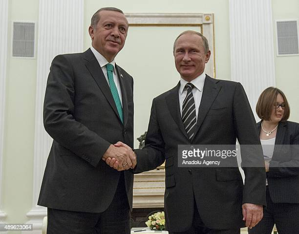 Turkey's President Recep Tayyip Erdogan meets Russian President Vladimir Putin after attending the opening ceremony of the Moscow Central Mosque in...