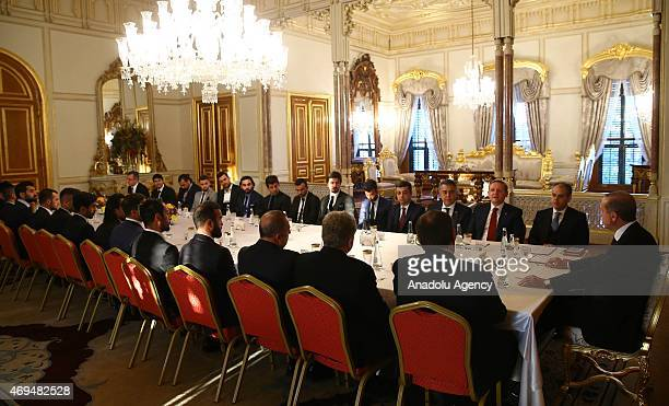 Turkey's President Recep Tayyip Erdogan meets with Turkey's Football topliners including President of the Turkish Football Federation Yildirim...