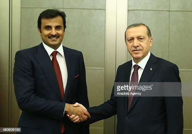 Turkey's President Recep Tayyip Erdogan shakes hands with Emir of Qatar Sheikh Tamim bin Hamad bin Khalifa Al Thani in Istanbul Turkey on July 13 2015