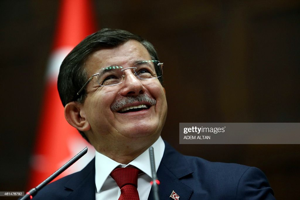 Turkey's Prime Minister <a gi-track='captionPersonalityLinkClicked' href=/galleries/search?phrase=Ahmet+Davutoglu&family=editorial&specificpeople=4940018 ng-click='$event.stopPropagation()'>Ahmet Davutoglu</a> speaks during the parliamentary group meeting of Turkey's ruling Justice and Development Party at the Grand National Assembly of Turkey (TBMM) in Ankara on January 13, 2015. AFP PHOTO/ADEM ALTAN
