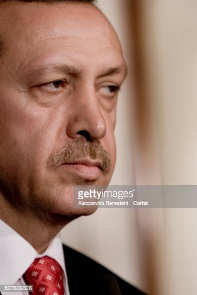 Turkey's Prime Minister Recep Taayip Erdogan looks on during a joint press conference with Italy's Prime Minister Romano Prodi after a meeting at...