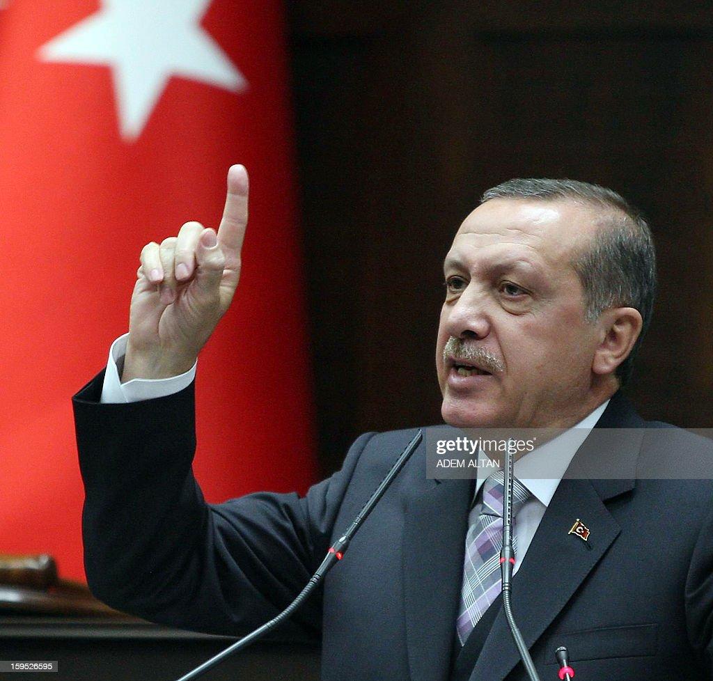 Turkey's Prime Minister Recep Tayyip Erdogan addresses members of the parliament in Ankara on January 15, 2013.
