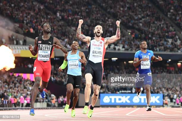 Turkey's Ramil Guliyev reacts as he wins the final of the men's 200m athletics event at the 2017 IAAF World Championships at the London Stadium in...
