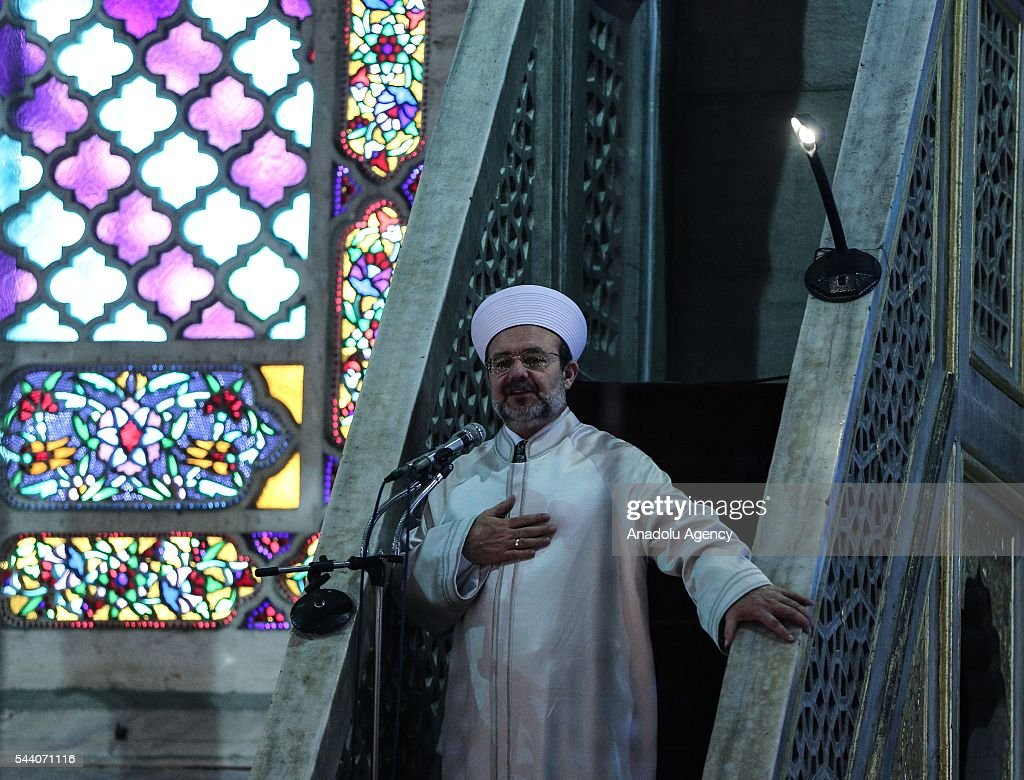 Turkeys Religious Affairs Directorate Mehmet Gormez leads the last Friday Prayer of Islam's holy fasting month of Ramadan at Sultanahmet mosque in Istanbul, Turkey on July 01, 2016.