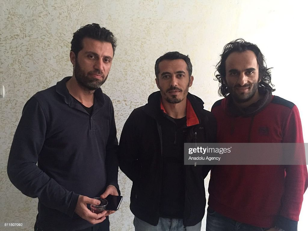 Turkey's semi-official news agency, Anadolu Agency journalists (L to R), Onur Coban, Kenan Yesilyurt and Rauf Maltas pose at the district's police headquarters in Nusaybin District of Mardin Turkey on February 21, 2016 as they were released after PKK terrorists abducted them on 19th of Februay 2016. PKK terrorists who abducted three journalists working for Anadolu Agency in Turkey's southeastern Mardin province, have held the trio for over 48 hours at an unknown location; their cameras were also seized. Anadolu Agency correspondent Rauf Maltas (31), photojournalist Onur Coban (36) and cameraman Kenan Yesilyurt (26) were assigned last week to Mardin's Nusaybin district to cover stories in the region.