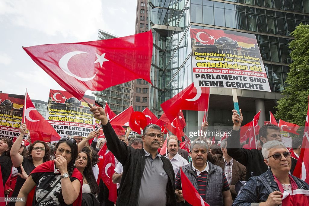 Turkish activist group protest against scheduled vote in the German Parliament that could see the government categorize 1915 incidents, in Berlin, Germany on May 28, 2016.