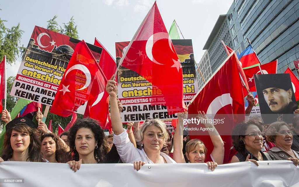 Turkish activist group protest against scheduled vote in the German Parliament that could see the government categorize 1915 incidents in Berlin, Germany on May 28, 2016.