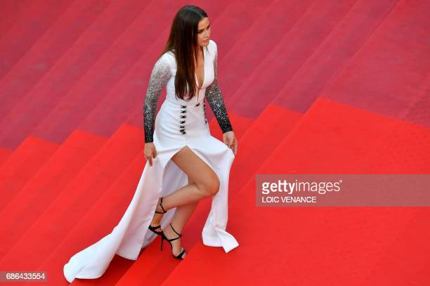 Turkish actress Fahriye Evcen arrives on May 21 2017 for the screening of the film 'The Meyerowitz Stories ' at the 70th edition of the Cannes Film...