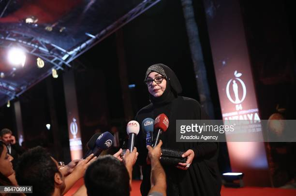 Turkish actress Necla Nazir answers the questions of press members ahead of the 54 International Antalya Film Festival in Antalya Turkey on October...