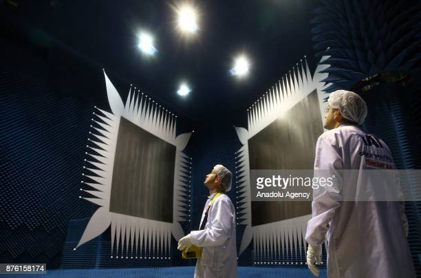 Turkish Aerospace Industries staff are seen in a special designed room at TAI Spacecraft Assembly Integration and Test Center in Ankara Turkey on...