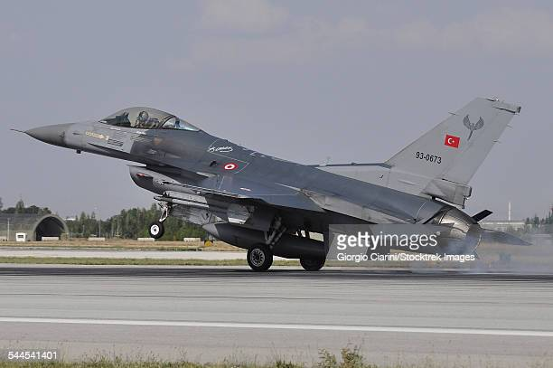 A Turkish Air Force F-16C landing on the runway at Konya Air Base, Turkey.