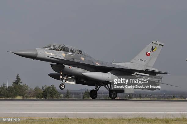 A Turkish Air Force F-16D landing on the runway at Konya Air Base.