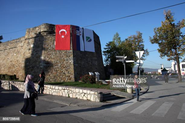 Turkish and Serbian flags hung in streets prior to the arrival of Erdogan in Novi Pazar Serbia on October 10 2017