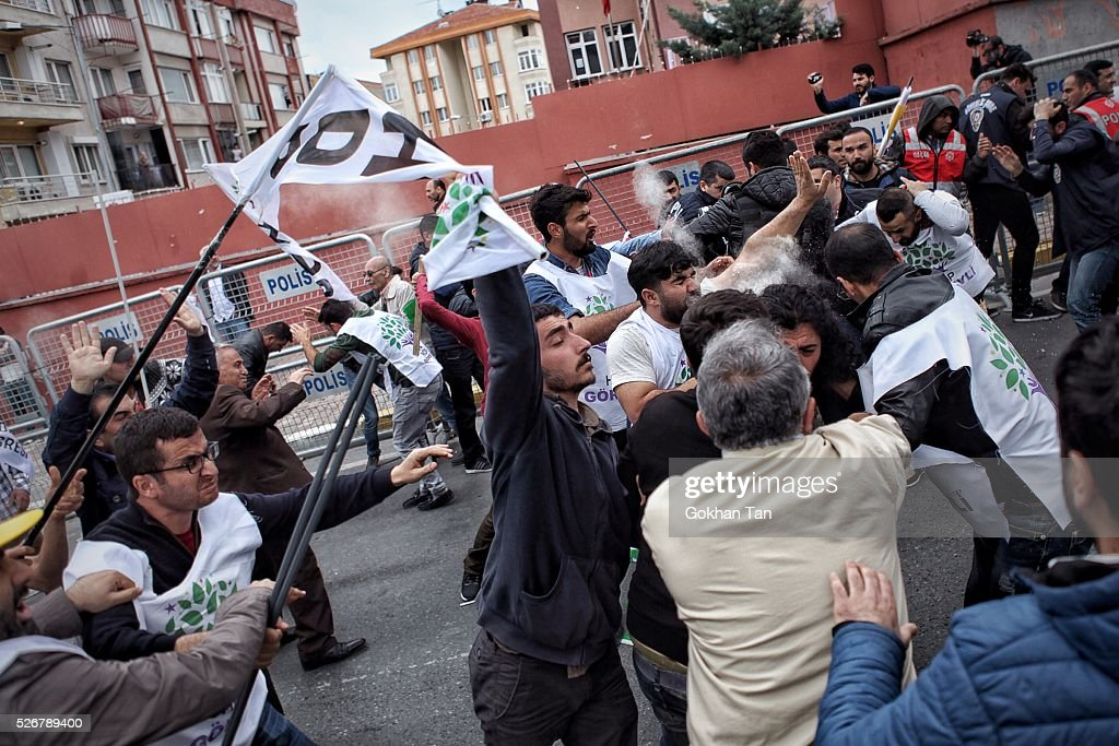 Turkish anti-riot police attempt to disperse protesters at a May Day rally in Istanbul's Bakirkoy district on May 1, 2016 in Istanbul, Turkey. Turkish police used tear gas and water cannon to disperse protesters as they tried to make their way to Taksim Square and other protest points.