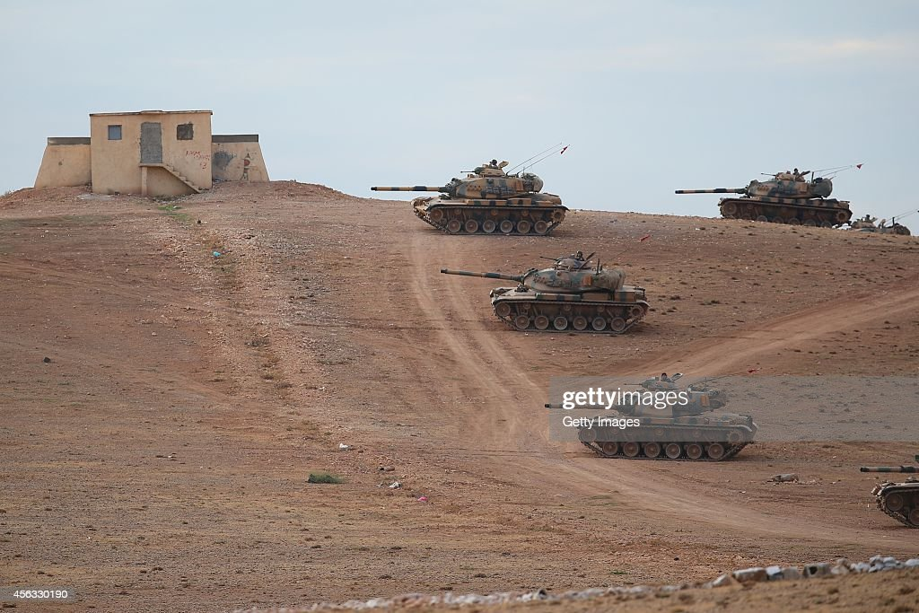 Turkish Armed Forces dispatch tanks to the Turkish Syrian border as clashes intensified with Islamic State of Iraq and Levant militants on September...